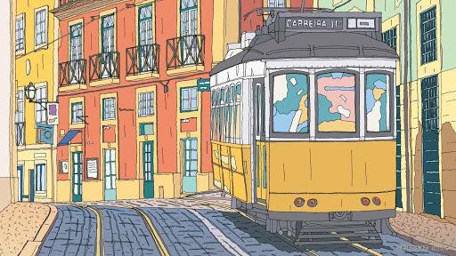 ポルトガルの街角風景イラスト
